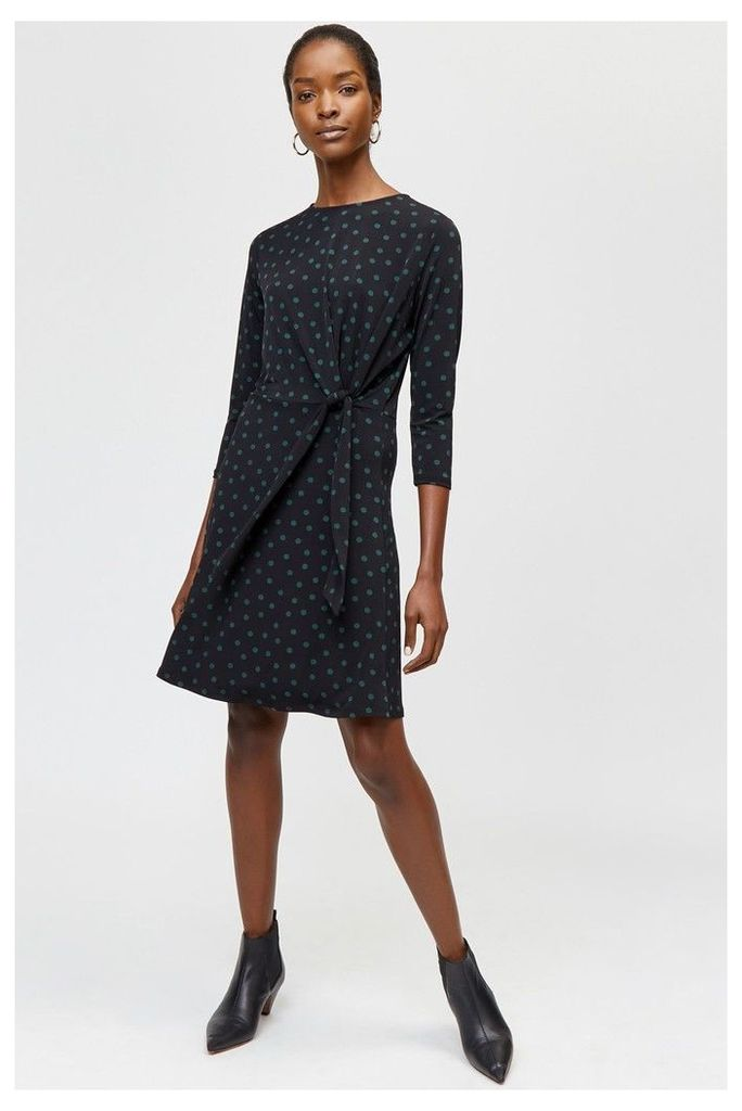 Womens Warehouse Black Polka Dot Tie Front Dress -  Black