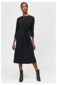 Womens Warehouse Black Polka Dot Tie Front Midi Dress -  Black