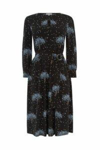 Womens Warehouse Black Star Tree Print Dress -  Black