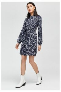 Womens Warehouse Black Horse Print Shirt Dress -  Black