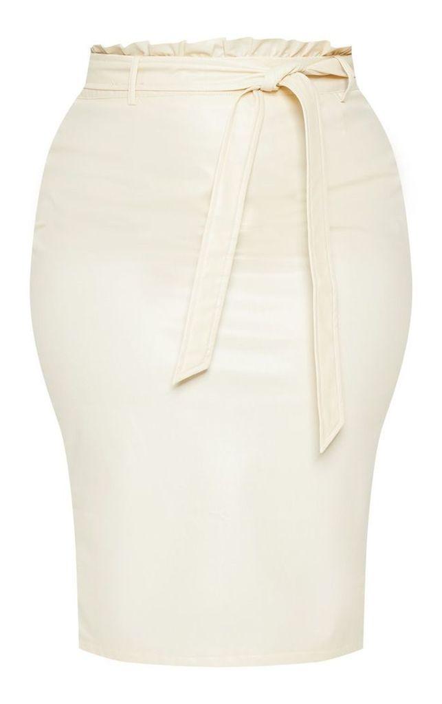 Plus Cream Faux Leather Frill Waist Midi Skirt, White