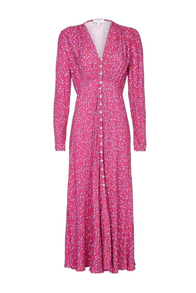 Womens Ghost London Pink Birdie Printed Floral Button Through Dress -  Pink