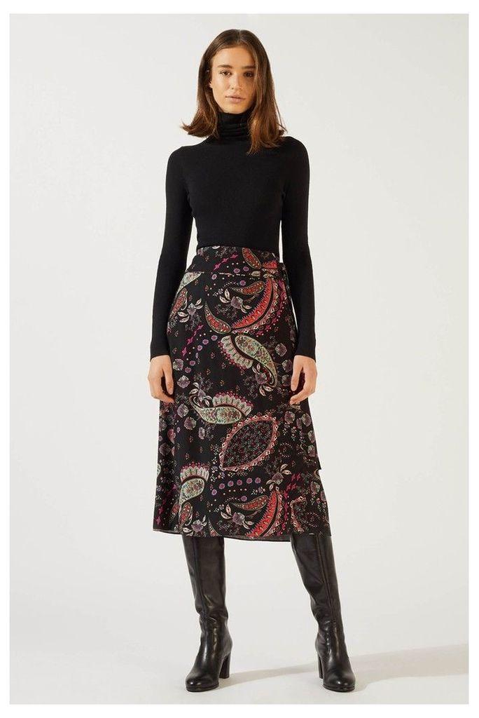 Womens Jigsaw Black Paisley Pattern Wrap Midi Skirt -  Black