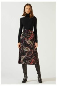 Womens Jigsaw Black Paisley Pattern Wrap Midi Skirt -  Black