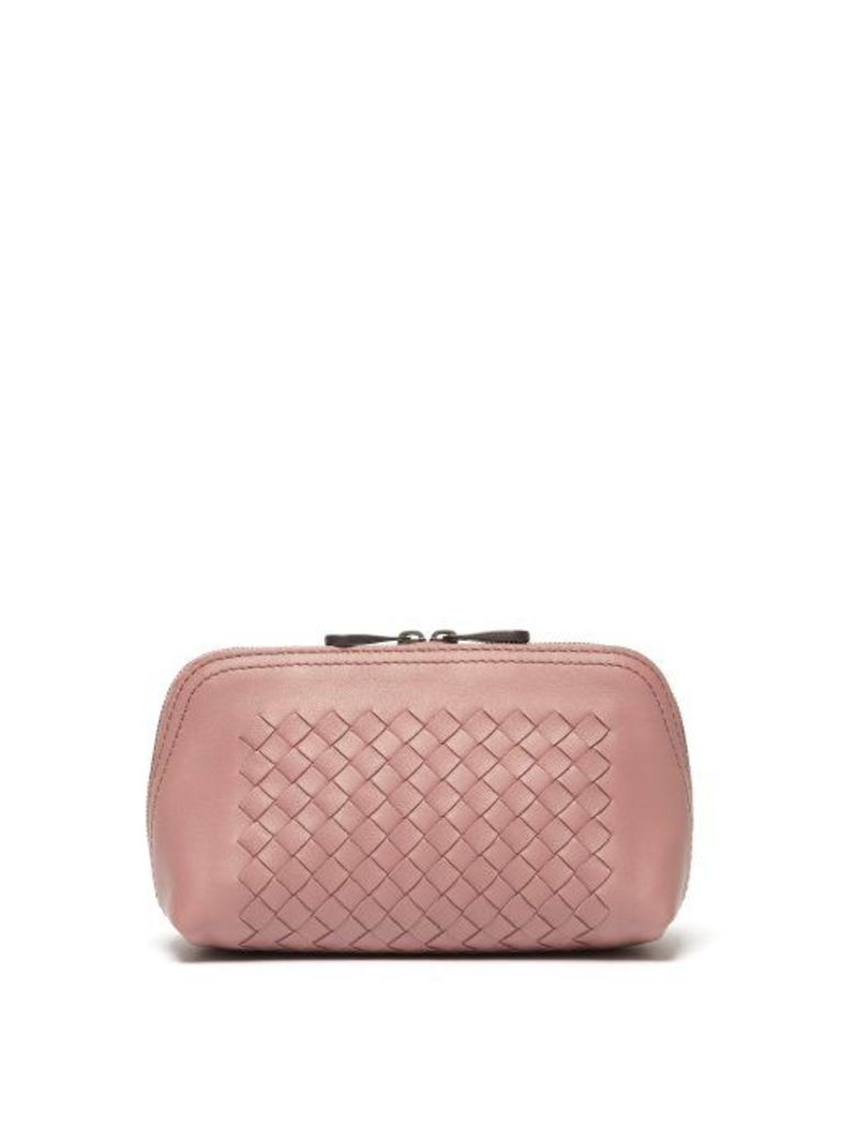 Bottega Veneta - Intrecciato Leather Make Up Bag - Womens - Dark Pink