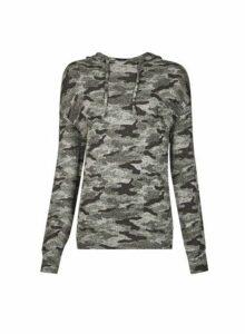Womens Khaki Camouflage Print Brushed Hoodie- Khaki, Khaki