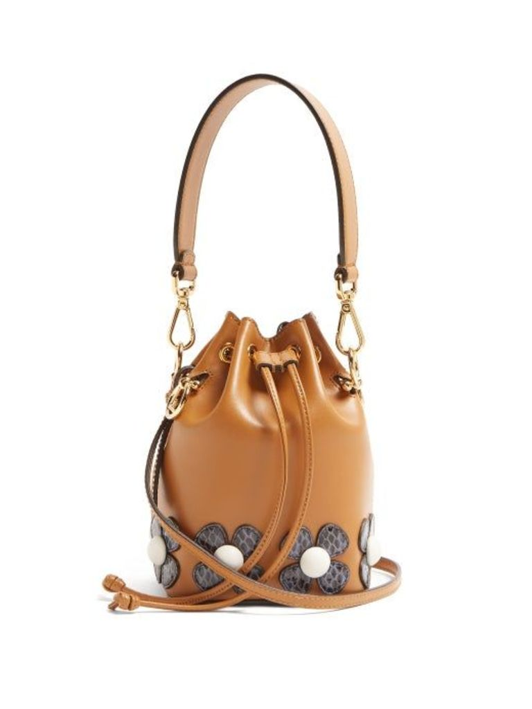 Fendi - Mon Tresor Flower Appliqué Cross Body Bag - Womens - Tan Multi