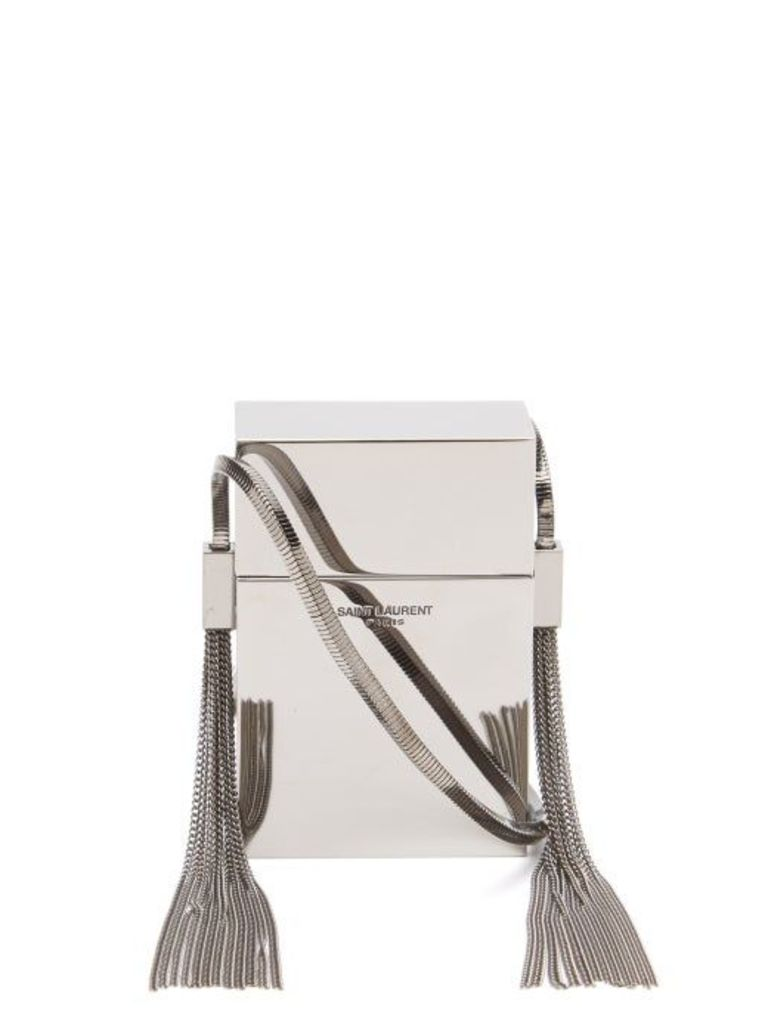Saint Laurent - Smoking Minaudière Metal Cross Body Bag - Womens - Silver
