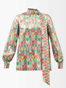 Lisa Marie Fernandez - High Rise Tiered Cotton Blend Lamé Skirt - Womens - Silver