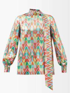 Lisa Marie Fernandez - High-rise Tiered Cotton Blend-lamé Skirt - Womens - Silver