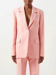 Asceno - V Neck Linen Midi Dress - Womens - Red