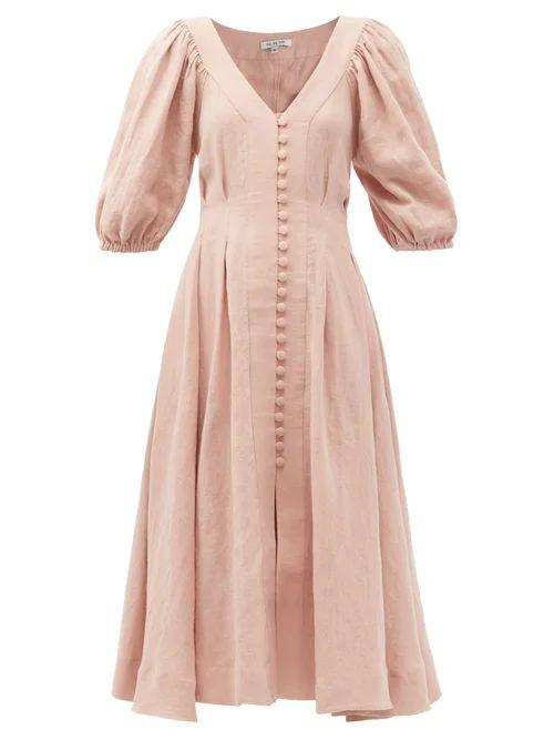 Asceno - Polka Dot Silk Crepe Tiered Midi Dress - Womens - Red White