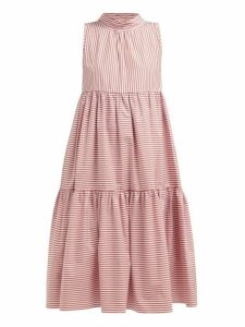 Asceno - Neck Tie Tiered Striped Cotton Dress - Womens - Red Stripe