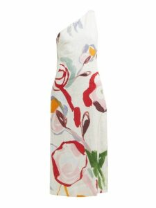 Cult Gaia - Louise Abstract Print One Shoulder Linen Dress - Womens - White Print