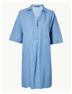 M&S Collection Cotton Rich Patch Pocket Shift Dress