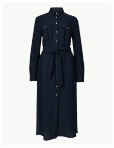 M&S Collection Cotton Rich Tie Waist Midi Shirt Dress