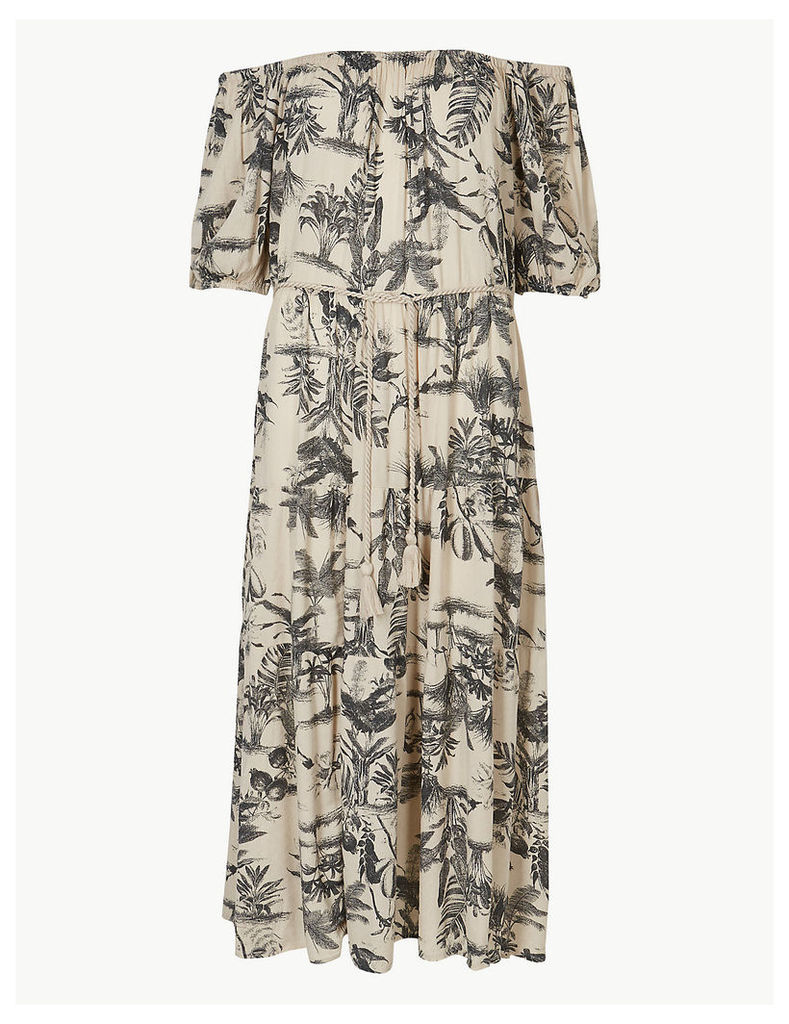 M&S Collection Leaf Print Waisted Midi Dress