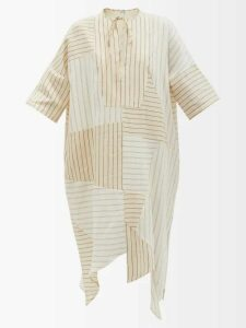 Alexander Mcqueen - Asymmetric Sarabande-lace Mini Dress - Womens - Black Multi