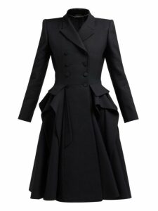 Alexander Mcqueen - Ruffle Double Breasted Wool And Silk Blend Coat - Womens - Black