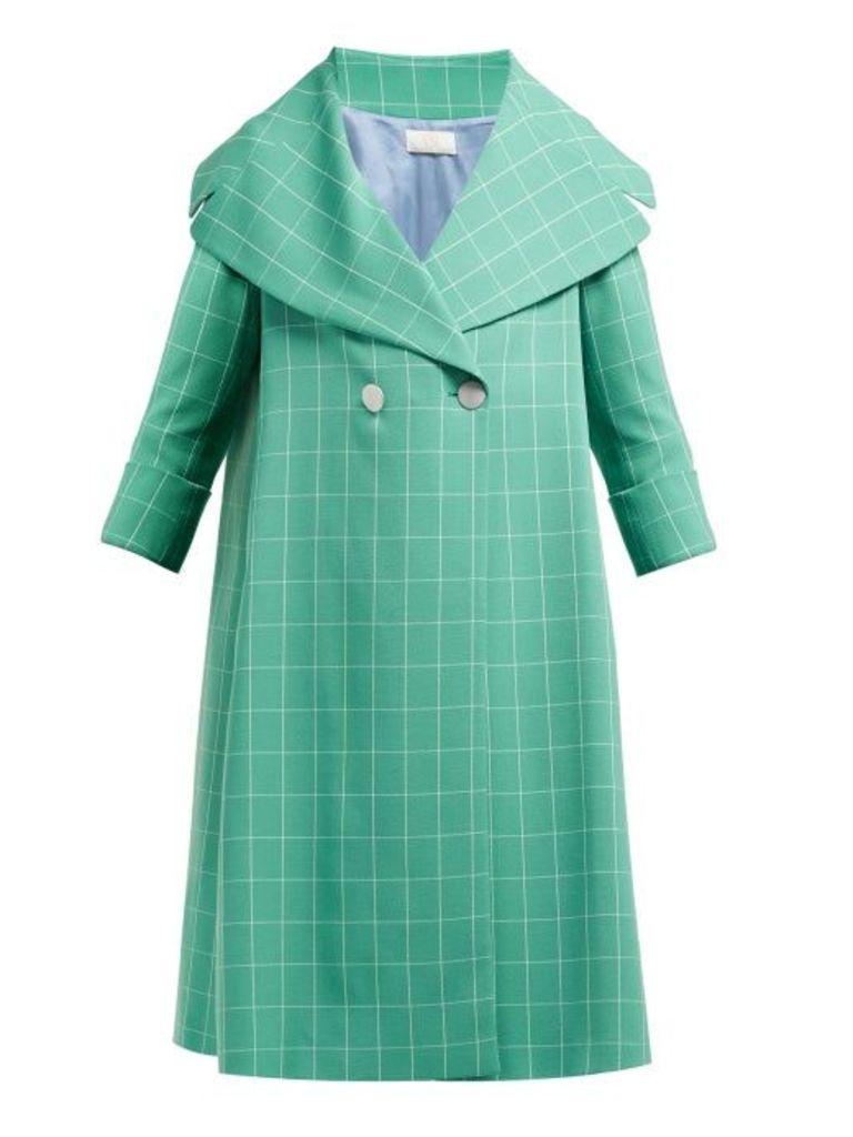 Sara Battaglia - Double Breasted Windowpane Check Crepe Coat - Womens - Green White