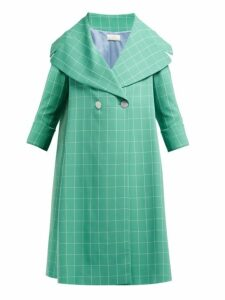 Sara Battaglia - Double Breasted Windowpane Check Crepe Coat - Womens - Green White