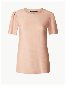 M&S Collection Textured Regular Fit Short Sleeve T-Shirt