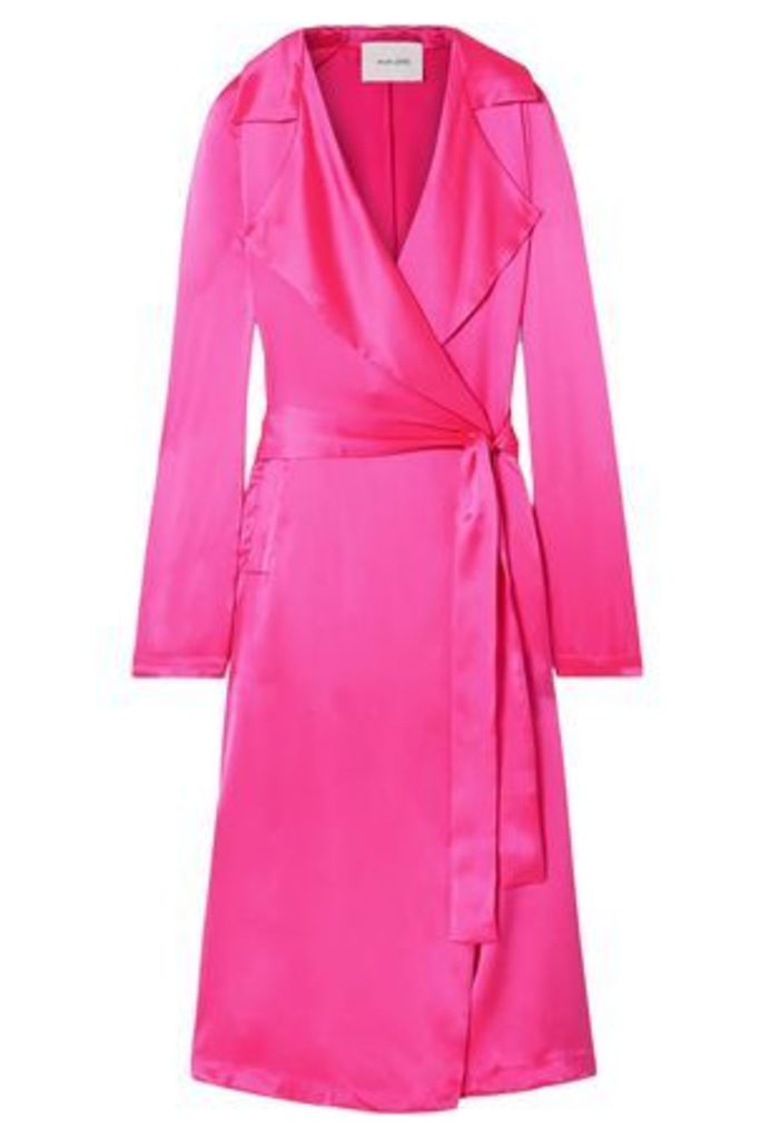 We Are Leone Woman Double-breasted Silk-satin Jacket Fuchsia Size XS/S