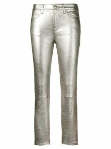 FRAME slim-fit leather trousers - Silver
