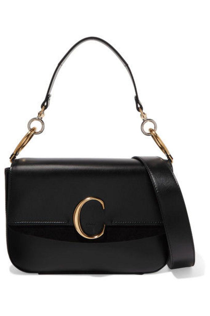 Chloé - Chloé C Medium Suede-trimmed Leather Shoulder Bag - Black