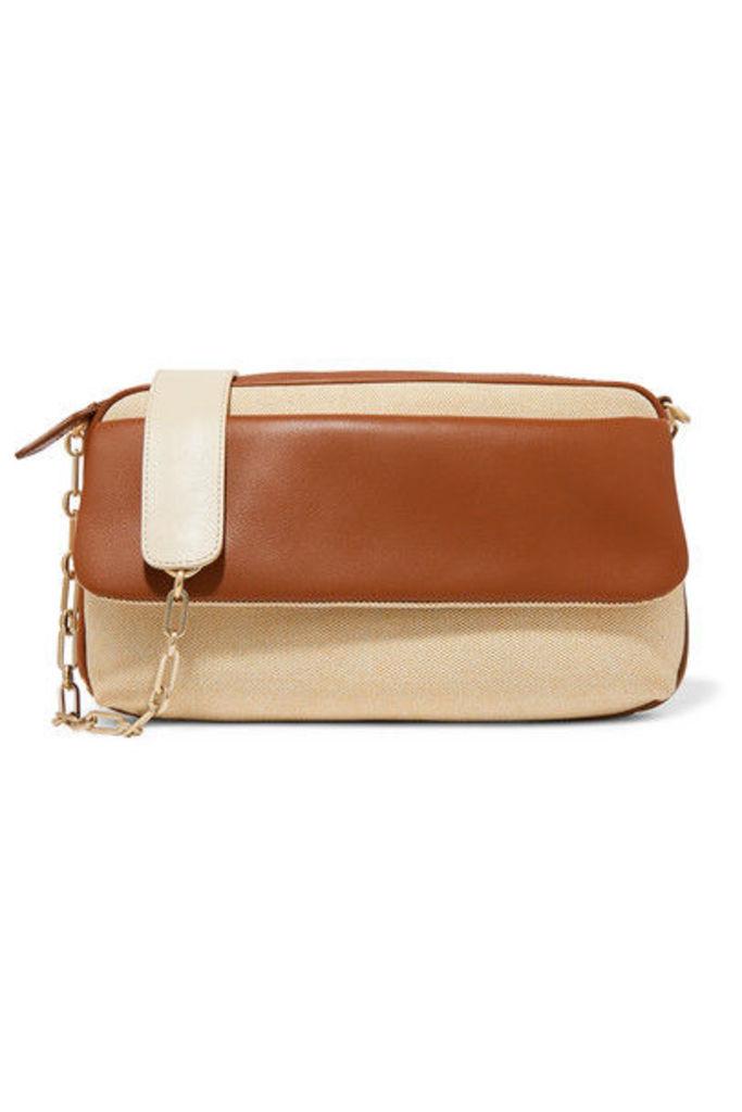 ZOOBEETLE Paris - Pantheon Leather And Canvas Shoulder Bag - Tan