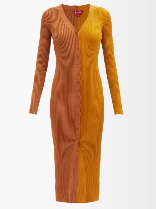 Saint Laurent - Fil Coupé Silk Blend Tiered Skirt - Womens - Black Gold