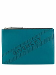 Givenchy perforated logo clutch - Blue