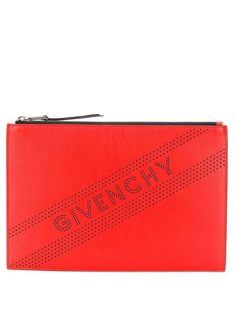 Givenchy perforated logo clutch - Red