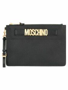 Moschino logo plaque clutch - Black