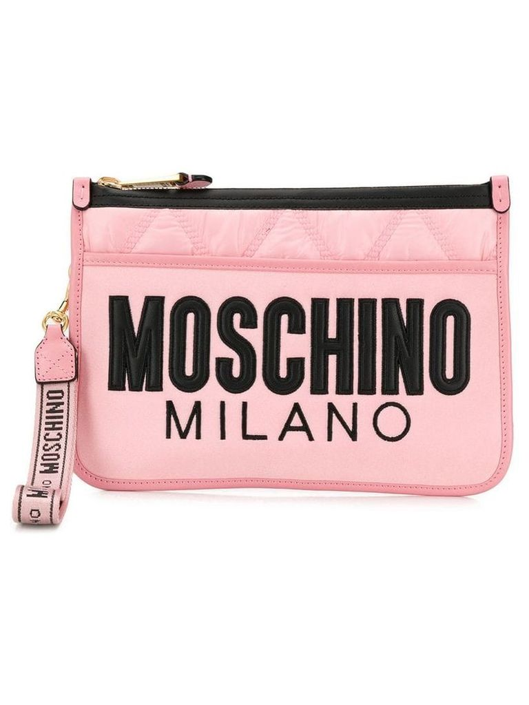 Moschino quilted logo clutch - Pink