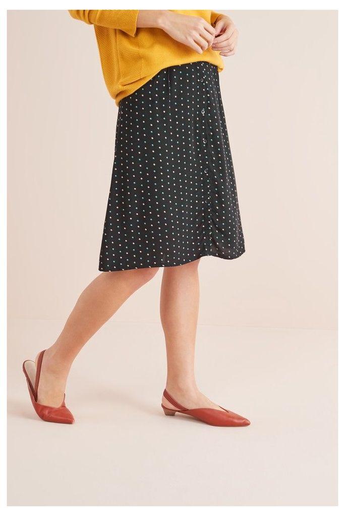 Womens Next Black Button Through Skirt -  Black