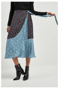 Womens Next Blue Ditsy Print Ruffle Wrap Skirt -  Blue
