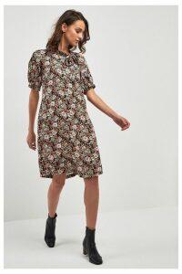 Womens Next Beige Floral Tie Neck Dress -  Cream