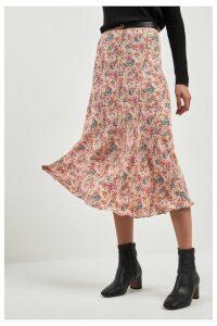 Womens Next Pink Floral Print Midi Skirt -  Pink