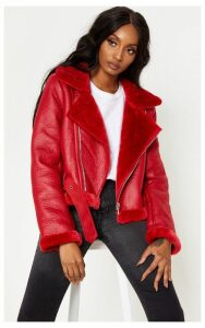 Red Cropped Contrast Faux Fur PU Aviator, Red