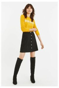 Womens Oasis Black Faux Suede Popper Skirt -  Black