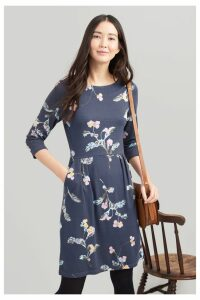 Womens Joules Beth 34 Ponte Dress With 3/4 Sleeves -  Grey