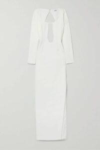 Miu Miu - Striped Ribbed Wool Sweater - White