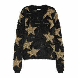 Saint Laurent Black And Gold Star-jacquard Jumper
