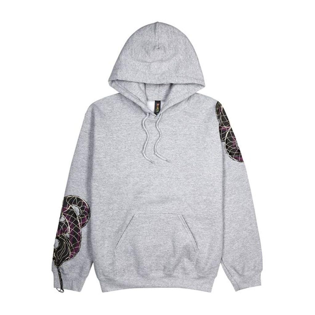 RAGYARD Snake-appliquéd Hooded Jersey Sweatshirt