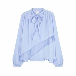 PINKO Light Blue Lace-trimmed Blouse