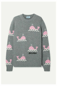 Prada - Intarsia Wool And Cashmere-blend Sweater - Gray