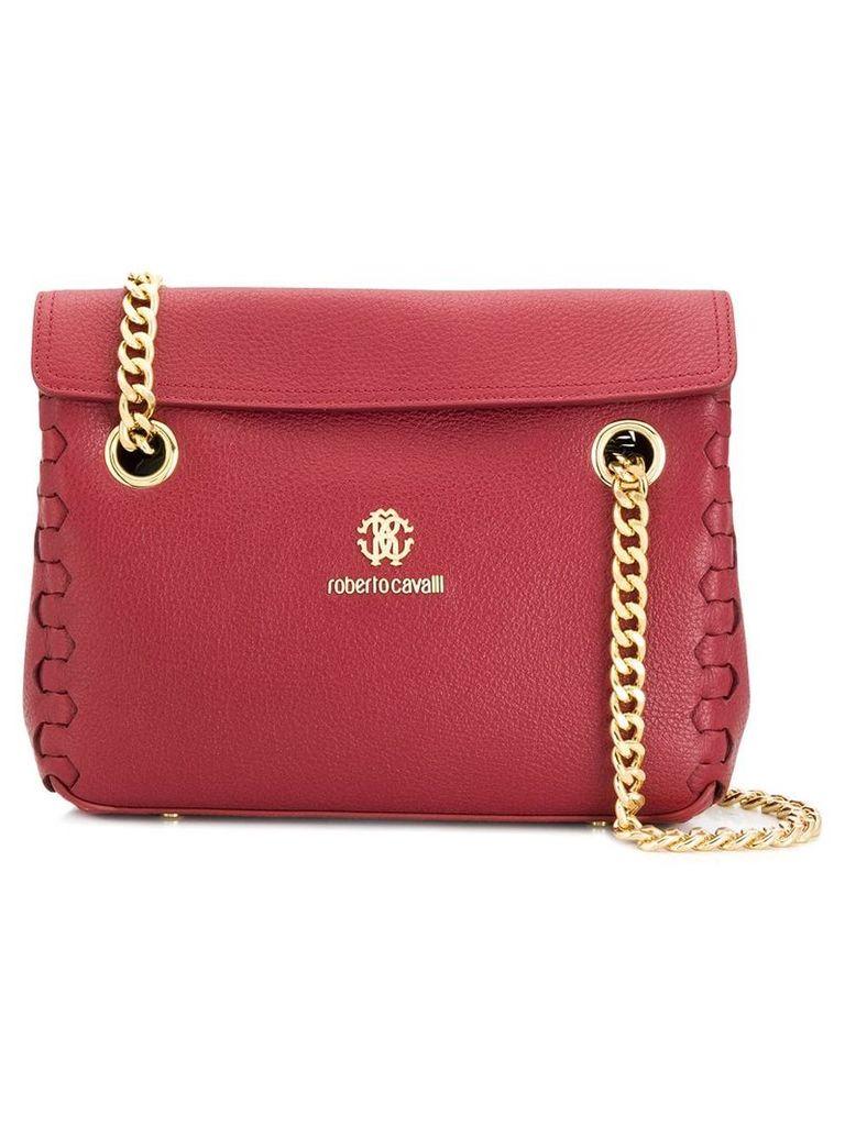 Roberto Cavalli braided edges shoulder bag - Red