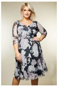 Womens Yours Floral Mesh Wrap Dress -  Purple