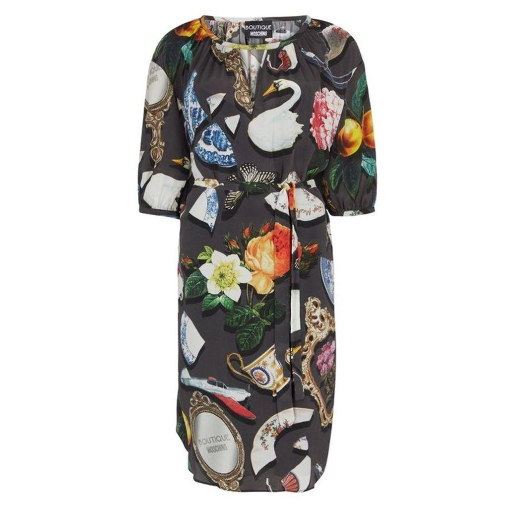 Boutique Moschino Printed Crepe De Chine Dress